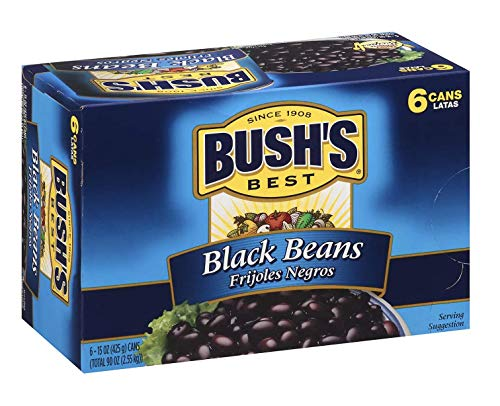 BUSH'S Best Black Beans 15 oz (Pack of 6)