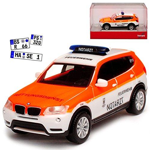 B-M-W X3 F25 Notarzt Feuerwehr Bayern München 2. Generation 2010-2017 H0 1/87 Herpa Modell Auto