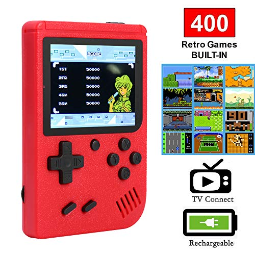 Ruorin 3 inch Handheld Retro FC Game Console 400 Games 8 Bit Game Player (Red)