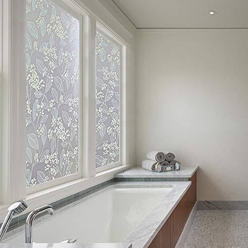 Qualsen窓めかくしシート窓ガラス目隠しシート窓用フィルム窓ガラスフィルム(90x200cm,白果樹)