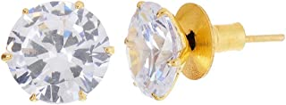 Geode Delight Sparkling Round 10mm Solitaire American Diamond Stud Earrings