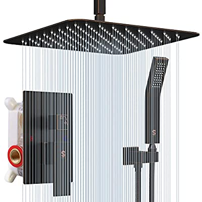 SR SUN RISE 16 Inches Oil Rubbed Bronze Shower Faucets Sets Complete Bathroom Rain Mixer Shower System Ceiling Mounted Rainfall Shower Head System (Contain Shower Faucet Rough-In Valve Body and Trim)