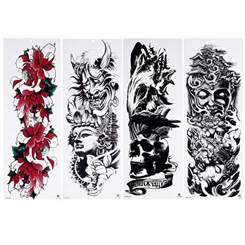 Lurrose 8PCS Arm Tattoos Sleeve Sticker Halloween Full Arm Temporary Tattoos Body Art Sticker for Men Women