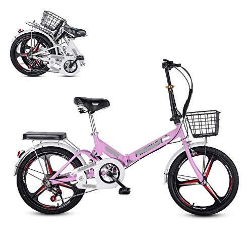 lqgpsx Zusammenklappbares Fahrrad für Erwachsene, 20-Zoll-6-Gang-Sitz mit Verstellbarer Fingerschaltgeschwindigkeit, hintere Stoßdämpferfeder, Komfortables und tragbares Pendlerfahrrad