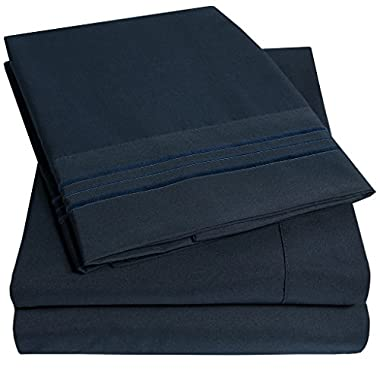 1500 Supreme Collection Extra Soft Queen Sheets Set, Navy Blue - Luxury Bed Sheets Set With Deep Pocket Wrinkle Free Hypoallergenic Bedding, Over 40 Colors, Queen Size, Navy