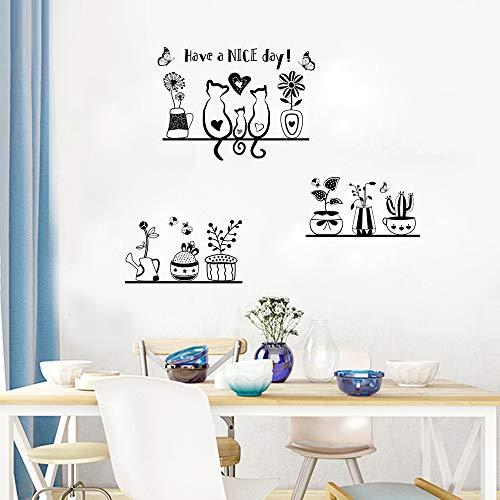 Adesivi da Parete Muro Murali Adesivo Nero Decorativo Decorazione fai da te per Casa Camera da Letto Soggiorno Bonsai Farfalle Fiori Have a Nice Day