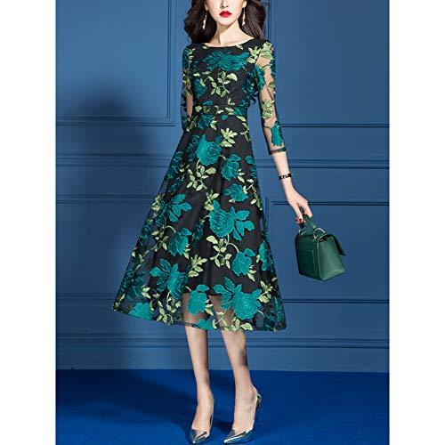 BINGQZ Cocktail Jurken Lente jurk vrouwen lang groen temperament Slank een woord rok kanten jurk