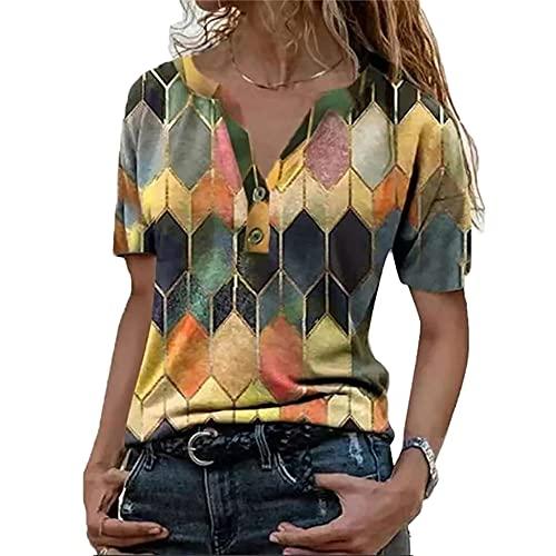 Elesoon Camiseta de verano para mujer, talla grande, geométrica, bohemio, étnico, estampado a cuadros, manga corta, suelta, con cuello en V, B-amarillo, 50