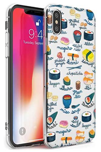 Hülle Warehouse Beschriftete Japanische Küche Sushi-Mix Slim Hülle kompatibel mit iPhone XS TPU Schutz Light Phone Tasche mit Transparent Japanisch Lebensmittel