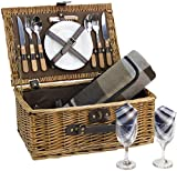 Wicker Picnic Basket for 2 Persons with Cutlery Service Set, Willow Hamper Supplies Kit Best Gift for Father...