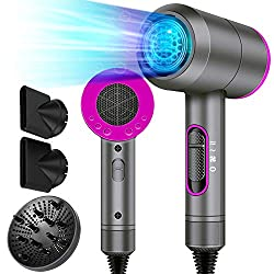 Negative Ions Design: Upgrade anti-static ionic technology delivers high levels of negative ions and keep temperature constantly. Negative ions protect hair surface from heat damage and protein damage, lock moisture in hair and smooth hair, which mak...