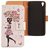 Lankashi PU Housse Case Cuir Coque Cover Etui Flip pour Alcatel One Touch Idol 3 5.5' Umbrella Girl Design