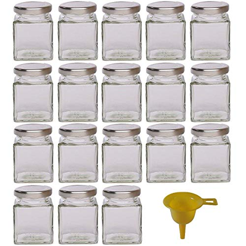 18 kleine Marmeladengläser für 106ml mit silbernem Deckel/für Konfitüre, Gewürze, Salze, Öle - inkl. einem gelben Einfülltrichter