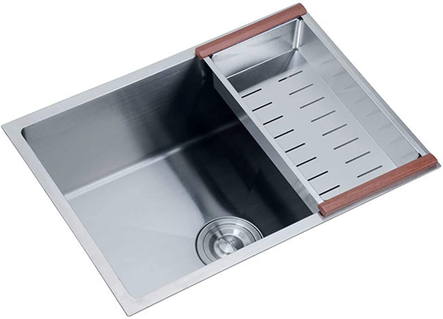 Bath Fixtures Kitchen Square Sink Small Sink Bathroom Mini Sink Kitchen Finishing Cleaning Pool Bathroom Stainless Steel Wash Basin Single Bowl (color   Silver, Size   55cm)