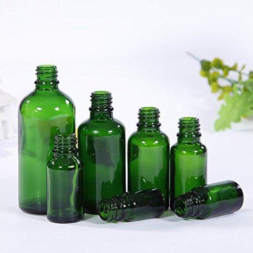 Sanwood Amber Vide Bouteille Verre Huile Essentielle Aromathérapie Liquide + Outil De Bouchon Compte-gouttes Green 5ml