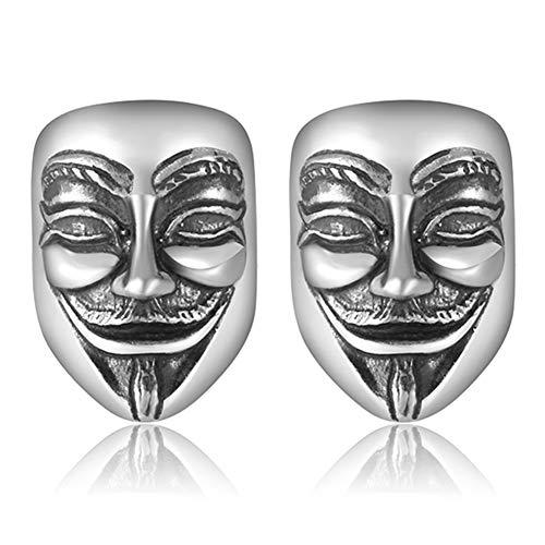 D&XQX Männer V für Vendetta-Geist-Schablonen-Ohrringe 990 Sterling Silber bereifte Ohrringe Punkweinlese-Silber-Schmuck für Männer