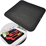 Dish Drying Mat for Kitchen Counter, Silicone Drying Mat for Dishes – 18 x 16 Inches Rubber Counter Drying Pad, Dishwasher Safe and Heat Resistant (Black)