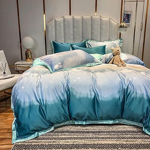 Funda Nordica Cama 150/135 Microfibra,Sumo Rainbow Largo Velvet Juego de cuatro piezas de algodón, lino de cama AB Versión de la piel de seda de lavado de agua descendiente y cómodas suministros de c