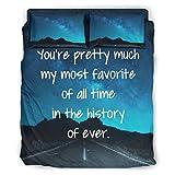 Bedding You're Pretty Much - Juego de sábanas para ropa de cama, diseño europeo, color oscuro, decorativo, 228 x 228 cm, color blanco