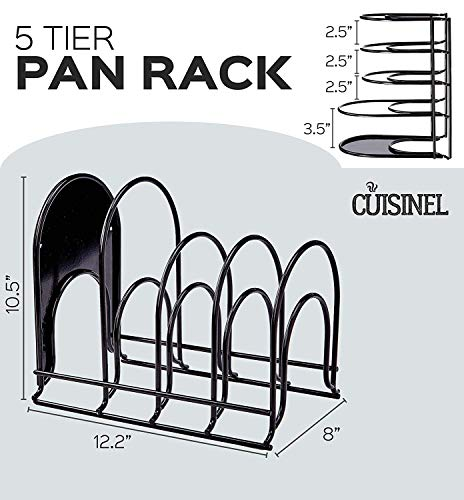 Heavy Duty Pan Organizer, 5 Tier Rack - Holds up to 50 LB - Holds Cast Iron Skillets, Griddles and Shallow Pots - Durable Steel Construction - Space Saving Kitchen Storage - No Assembly Required