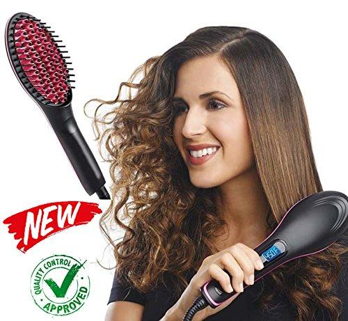 Haar-Glätt-Bürste & Haarglätter Bürste & Ionen Glättbürste, Keramik Haarglätter Bürste Für Glattes Haar, Elektrische Stylingbürste& 2 in 1 Glätteisen und Bürste & LCD-Temperaturanzeige bis zu 230 °C