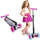 Caroma Kids Scooter, 3 Adjustable Height, 3 PU LED Flashing Wheels with Aluminum Alloy T-Bar Scooter...