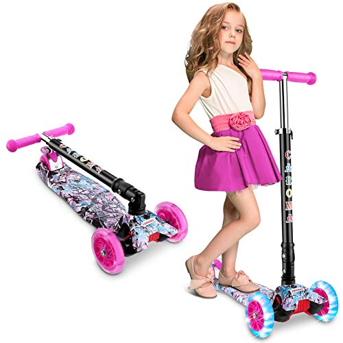 Caroma 3 Wheel Kick Scooter for Kids & Toddlers Girls and Boys, 3 Adjustable Height, 3 PU LED Flashing Wheels with Aluminum Alloy T-Bar Scooter for Kids Age 2-12 yrs Old