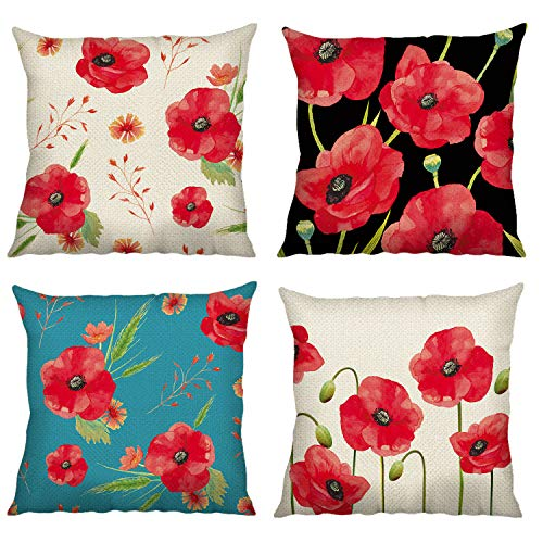 Bonhause Poppy Flower Cushion Covers 18 x 18 Inch Set of 4 Red Floral Decorative Throw Pillow Covers Cotton Linen Square Pillowcases for Sofa Couch Car Bedroom Home Décor, 45cm x 45cm