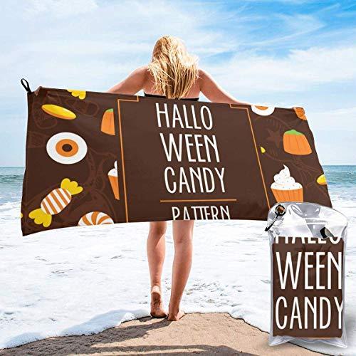 Toallas de Playa sin Arena Caramelo de Halloween Toalla de baño súper Absorbente de Secado rápido para Nadar y al Aire Libre, Toalla de Yoga portátil para niños Adultos