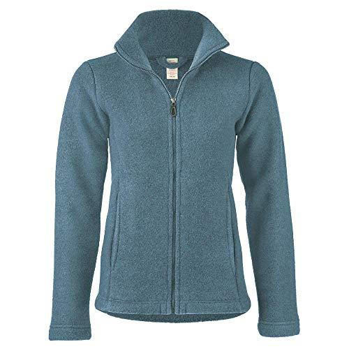 Engel Damen Fleece-Jacke mit Reißverschluss Bio-Schurwolle, Atlantik Melange, 42/44