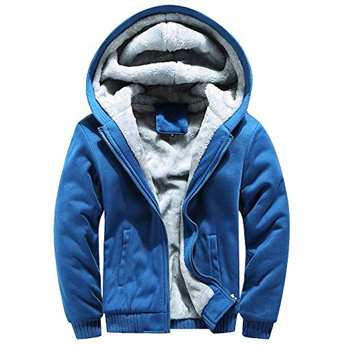 MRULIC Herren Hoodie Pullover Winter Warme Fleece Jacke Zipper Sweater Jacke Outwear Mantel RH-054 (EU-48/CN-XXL, Y3-Blau)