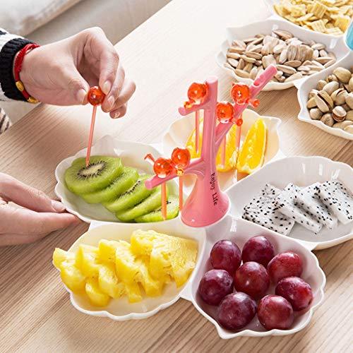 Corbeille de fruits Plateau de Fruits Assiette de Fruits Secs avec Couvercle Assiette de Collations pour Boîtes à Collations Séparées pour Biscuits,Friandises Assiette de fruits (Color : Pink)