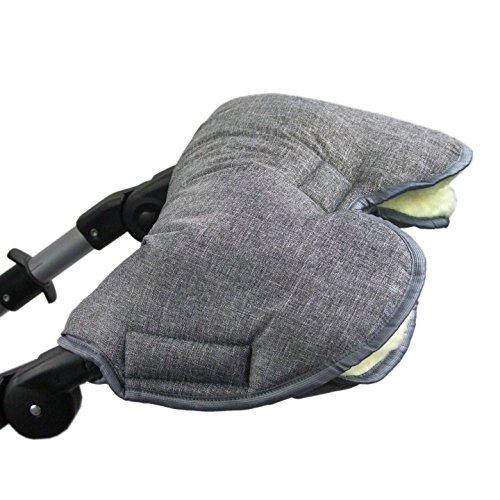 BAMBINIWELT universaler Muff Handwärmer Handschuhe für Kinderwagen Buggy Jogger mit Wolle meliert DUNKELGRAU XX