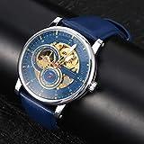 T-WINNER Reloj de pulsera mecánico Reloj de pulsera impermeable para hombre Cuero de PU Gran decoración Automático Uso a largo plazo para negocios, hogar, reuniones