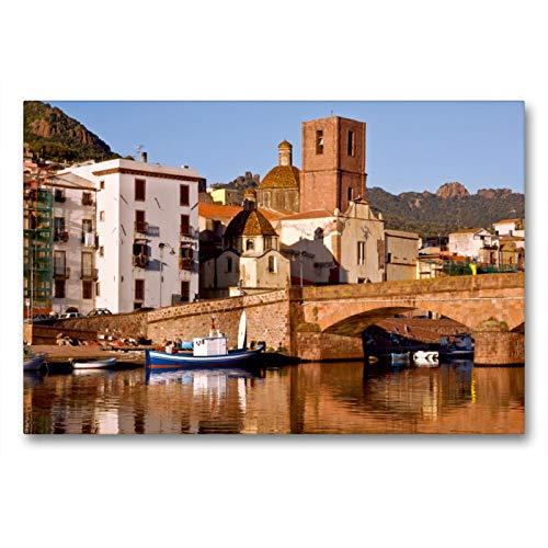 Premium - Lienzo de tela (90 cm x 60 cm, horizontal, vieja piedra puente en el puerto del río Temo en color rosa, cuadro sobre bastidor, imagen en la isla de Sardinia (Calvendo Orte);Calvendo Orte