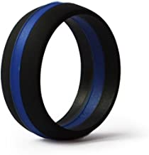 KomFortRingZ Thin Blue Line Silicone Wedding Ring Band Flexible Hypoallergenic Active Wear for on Duty or Active Life Styles Law Enforcement