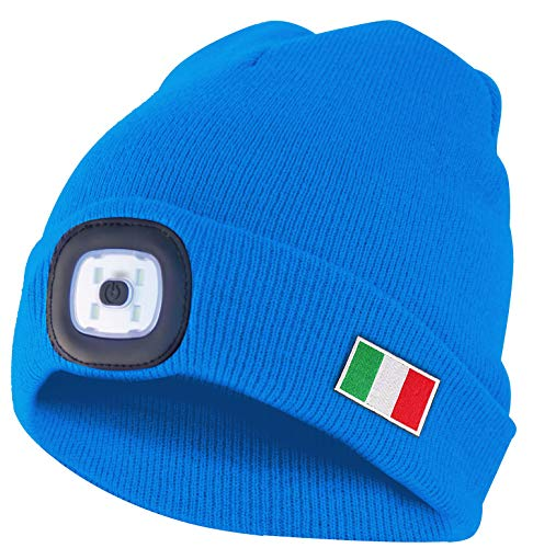 VELAMP Italia LED-Mütze, Unisex, Erwachsene, Hellblau, Einheitsgröße