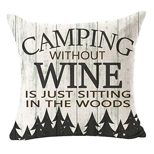 FELENIW Kissenbezug, Holzmaserung, Camping, ohne Wein ist nur Sitting in The Woods, lustiges Zitat, bestes Geschenk für Reisen, Wurfkissenbezug aus Baumwollleinen, dekorativ, 45,7 x cm, quadratisch