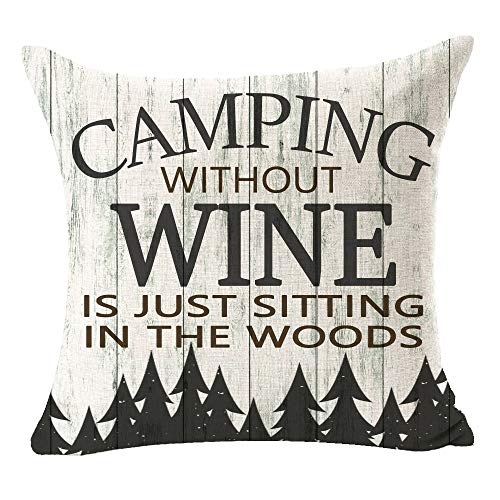 FELENIW Wood Grain Camping Without Wine is Just Sitting in The Woods Fun Quote Best Gift for Camping Travel RV Throw Pillow Cover Cushion Case Cotton Linen Decorative 18x18 Square