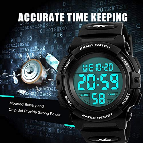 Kids Watches Boys Waterproof, Kids Black Digital Sports Waterproof Outdoor Analog Electronic Watches with Alarm Sto   pwatch, Children Birthday Presents Gifts Toys for Age 4-12 Year Old Boys Girls