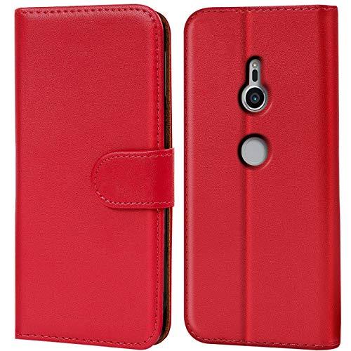 Verco Xperia XZ2 Hülle, Handyhülle für Sony Xperia XZ2 Tasche PU Leder Flip Hülle Brieftasche - Rot