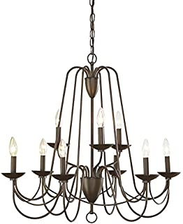 allen + roth Wintonburg 27.95-in 9-Light Aged Bronze Williamsburg Candle Chandelier
