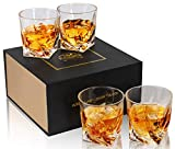 KANARS Rocks Glasses, Twist Whiskey Glass Tumblers Set Of 4 - Premium Lead Free Crystal - Large 10 Oz Old Fashioned Cocktail Glass For Scotch, Bourbon Or Whisky - Luxury Gift Box for Men And Women