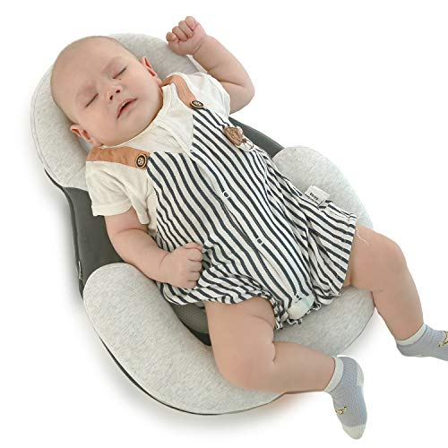 Portable Baby Bed Baby Bed Baby Crib Mattress Baby Pillow Baby Head Shaping Pillow for Flat Head Prevention (Best Baby Mattress for Crib)