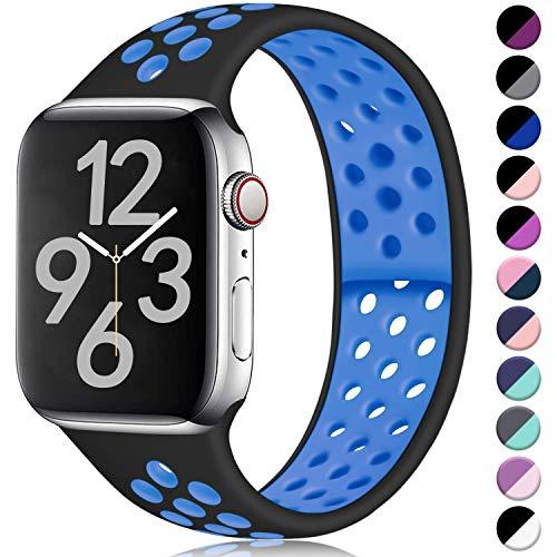 Hamile Cinturino Compatibile con Apple Watch 42mm 44mm, Due Colori Morbido Silicone Traspirante Cinturini Sportiva di Ricambio per Apple Watch Series 5/4/3/2/1 M/L Nero/Blu