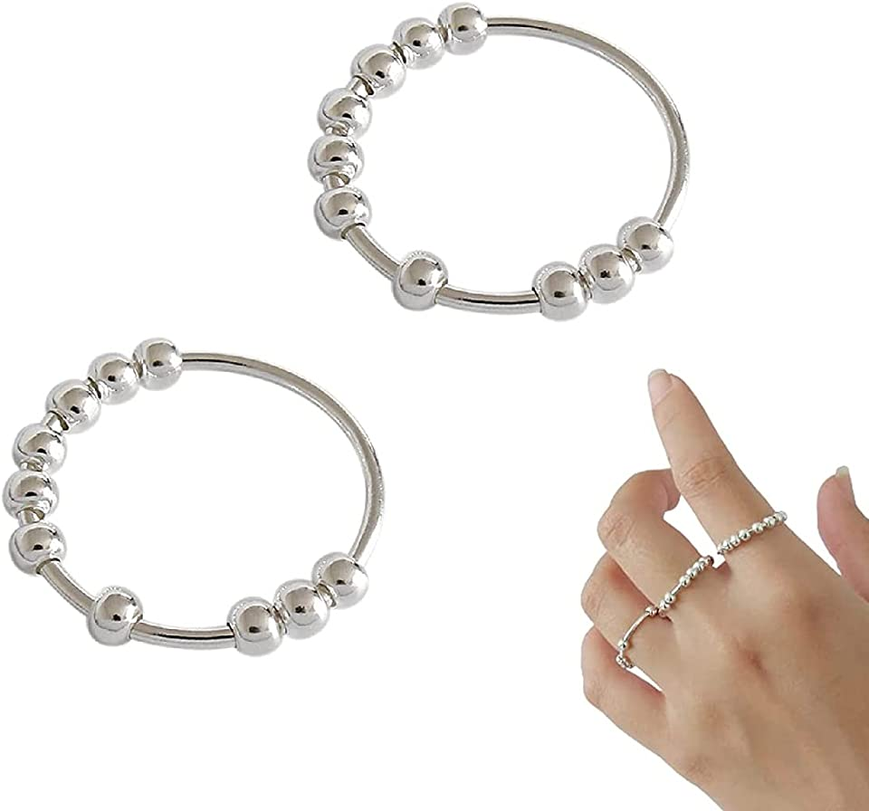 1 Pair Fidget Anxiety Beads Rings, Spinner Geometric Beaded Ring, Fashion Simple Style Round Bead Ring, for Women Girls Jewellery Accessories Daily Wear (Größe 14)