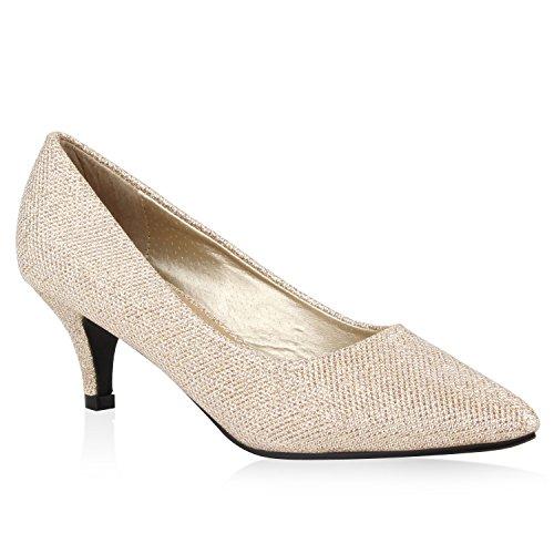 Damen Spitze Pumps High Heels Lack Glitzer Kitten Heels Party Stilettos Elegante Abend Fransen Schuhe 108814 Gold Schwarz 36 Flandell