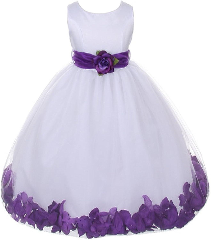 WonderfulDress White Bridal Satin Bodice with Petal Tulle Skirt Girl Dress