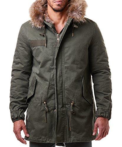 Burocs Herren Parka Winter Jacke Mantel Lang Echt-Fell-Kapuze Khaki Grün BR1710, Größe:L, Farbe:Khaki