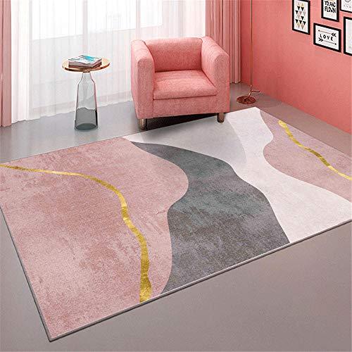 Kunsen Alfombra Infantil habitación Manta de la habitación de los niños Rosa Gris Moderno Rectangular Suave alfombras habitacion 120X180CM 3ft 11.2' X5ft 10.9'